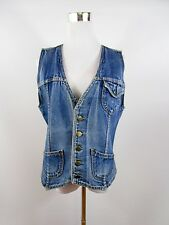 COUNTRY Designer Womens Vtg Retro 70s Hippy Boho Denim Jeans Waistcoat sz L BH64