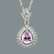 Stunning 18K White Gold Plated Cubic Zirconia Pear Cut Pink Sapphire Pendant