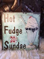Retro French Vintage Canvas Style Shabby chic kitchen sign Hot Fudge Sundae Pic