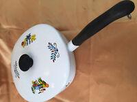Vintage Enamel Steel Skillet Pan Lid Handle 8 x 8 Berggren or Georges Briard