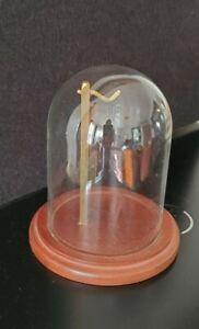 VINTAGE GLASS DOME POCKET WATCH HOLDER DISPLAY CASE