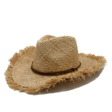 Men Women Straw Cowboy Western Hats Wide Brim Panama Sombrero Beige Beach Caps