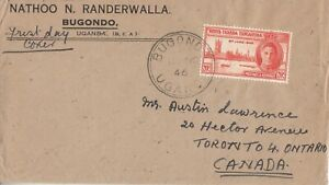 """1946 KGVI KUT Victory """"local"""" First Day Cover cancelled BUGONDO Uganda"""