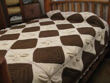 Vintage Acrylic Aran Knit Knitted Afghan Brown King Queen Full Bedspread 82x100