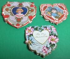 Lot Of Three Antique Diecut Folding Valentines So Pretty Folding Hearts