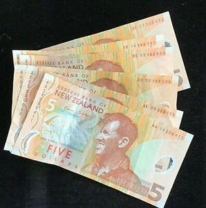 New Zealand: 1990's  $5  banknotes x 6 circulated AA,AB,AE,BC,BH,BG
