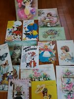Lot of 15 Vintage Girls Birthday Greeting Cards 1960s 1970s Cats Dog Craft