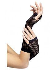 Fishnet fingerless long gloves 80s costume dance punk black 34872