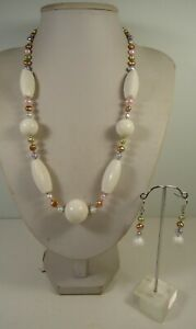 Lee Sands White Sponge Coral w Pastel Pearl Nuggets NK & ER set Made in Hawaii
