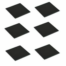 Square Glass Coasters Non-Slip Coffee Table Drinks Mat - Black - Set of 6