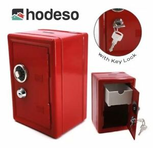 Hodeso Coin Bank Locker Safe Vault with Key Lock - RED