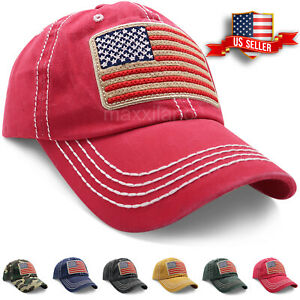 Baseball Cap for Men Women Washed Cotton Dad Hat USA American Flag Caps Trucker