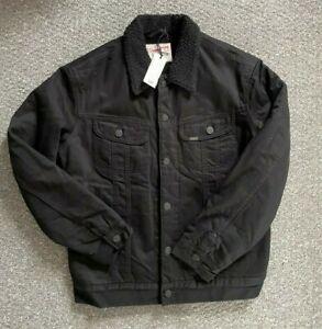New Mens Lee Storm Rider Jacket Denim Button Up Black Heavy Chest 42 Size M 65