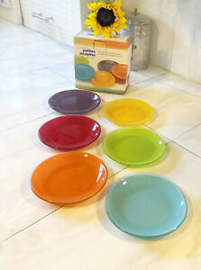 """Danesco Glass Small 4.5"""" Tasting /Tapas Hors d'oeuvres Plates Set of 6/ 6 colors"""