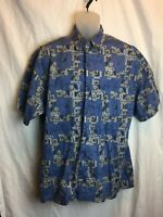 Aftco Bluewater Cotton Abstract Blue Marlin Men's SS Shirt Tags Missing