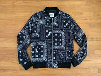 New ZARA Womens sz M black Paisley Insects print bomber jacket