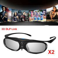 2x 3D Glasses Active Shutter DLP Link Clip on 96-144HZ For DLP Projectors Optoma