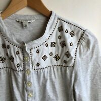 BANANA REPUBLIC Gray Ivory Cream Beaded Popover Long Sleeve Top XS Extra Small