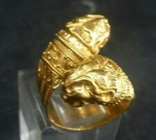 Rare Vintage 1960s Greek 22 K Solid Gold 2 Lion Heads  Bypass Ring Size 71/2