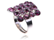 Amethyst Purple Violet Rectangle Cut Shaped Rhinestone Statement Ring Party Gift