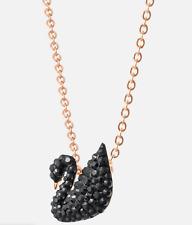 "Swarovski Iconic SMALL Jet Black Swan Pendant 14 7/8"" Rose Gold Tone Plt 5204133"