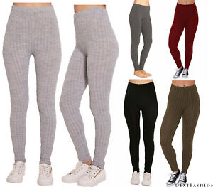 WOMEN'S LADIES CHUNKY CABLE KNITTED PATTERN THICK WOOL WARM LEGGINGS
