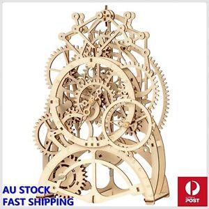 DIY 3D Wooden Puzzle Mechanical Gear Drive Pendulum Clock Assembly Model Kit