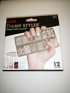 Kiss Nails STAMP STYLER Designer Nail Kit Black & White 12 Patterns  Salon Style