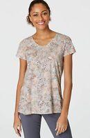 NEW PURE JILL J. JILL L XL Tall S/S Shirred-Back Tee Pima Cotton Gray Pink