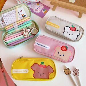 Canvas Pencil Case Kawaii School Supplies Pencilcase Cute Pen Case Bag Pouch*