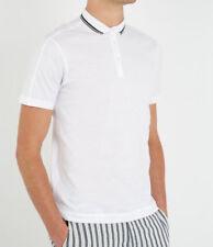 DANWARD white slim fit 3 button striped collar cotton jersey polo shirt L NEW