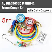 5FT Hose R12 R22 R134A R502 A/C Refrigeration Charging Manifold Gauge Set HVAC