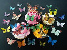 30 PRE-CUT MIXED BUTTERFLIES EDIBLE RICE WAFER PAPER CUP CAKE TOPPERS
