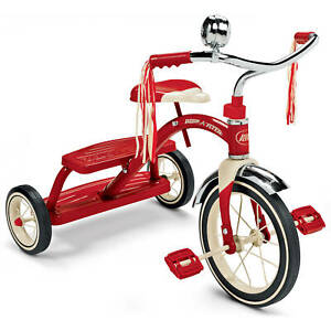 """Classic Red Dual Deck Tricycle, 12"""" Front Wheel, Red"""