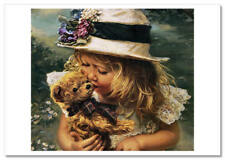 SANDRA KUCK ~ LITTLE GIRL straw hat TEDDY Toys Kiss KIDS Modern Postcard