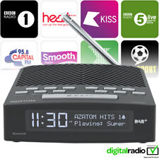 Azatom DAB FM Radio Clock Alarm Speaker Bluetooth USB charger Horizon Black(R)