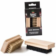 CHERRY BLOSSOM SHOE BOOT POLISH TWIN BRUSH SET PURE BRISTLE APPLICATOR BRUSH