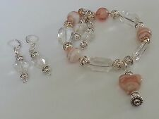 a Beautiful Bracelet with Earrings Fits All Creamy Pink Heart Charm and Beads in