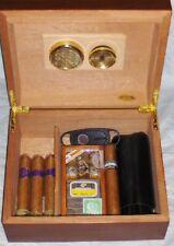 Cuban Crafters Cedar Lined Cigar Humidor w Cutter & Double Cigar Travel Case