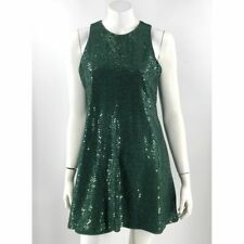 VTG 90s All That Jazz Swing Dress 11 / 12 Green Sequin Sleeveless Holiday Party
