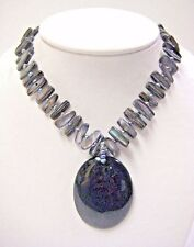 """UNIQUE ABSTRACT ABALONE AND NATURAL GREY STONE NECKLACE 16.5"""" LONG  #25"""