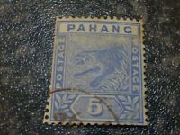 MALAYAN STATE PAHANG POSTAGE STAMP SG13 BLUE 5C GOOD USED TRIMMED DOWN LH SIDE