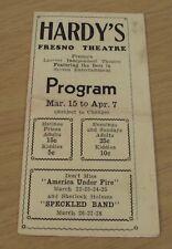 "RARE 1931 'Movie PROGRAM' Guide~""HARDY'S Fresno THEATRE""~California~"