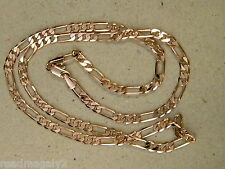 Lady's Rose Pink Tone Gold Plated Figaro Chain Necklace 20in. Long 3mm Wide New