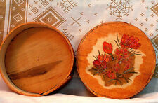 """""""Spring Crocus"""" Hand made primitive shaker style pyrography decorated wood  box."""