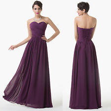 PURPLE Strap  Formal Gown Ball Party Bridesmaid Dresses Long Evening Prom Dress