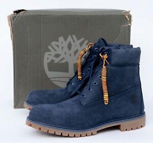 NIB Men's TIMBERLAND Medium Blue Nubuck Premium 6IN Waterproof Boots 12 (EU) 46