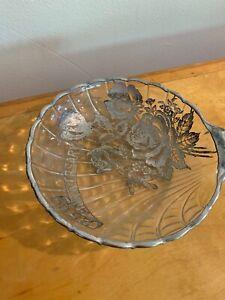 Vintage 25 Th. Anniversary Candy Dish, Silver  Rim And Print B110