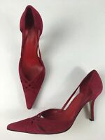 WOMENS L.K. BENNETT UK 5.5 EU 38.5 RED SUEDE POINTED TOE HIGH HEEL D'ORSAY SHOES