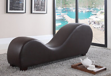 Foam Lounge Chair W/ Leather Upholstery For Body Relaxation Fitness & Yoga Brown
